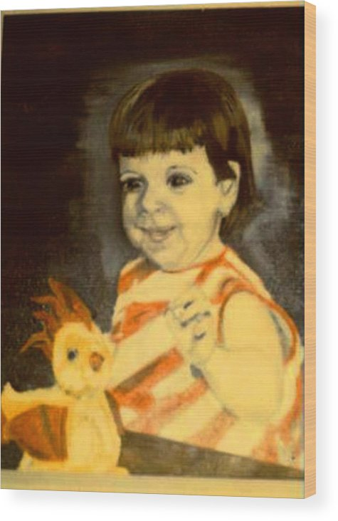 Portrait Child Angel Wood Print featuring the painting An Angel From Heaven by Alfred P Verhoeven