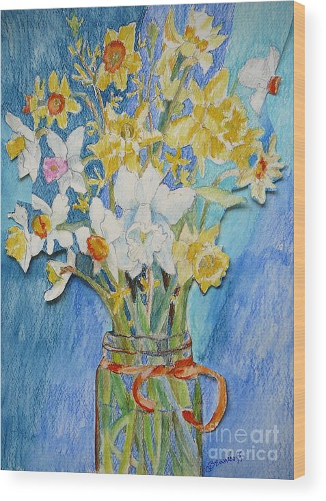 Flowers Wood Print featuring the painting Angels Flowers by Jan Bennicoff