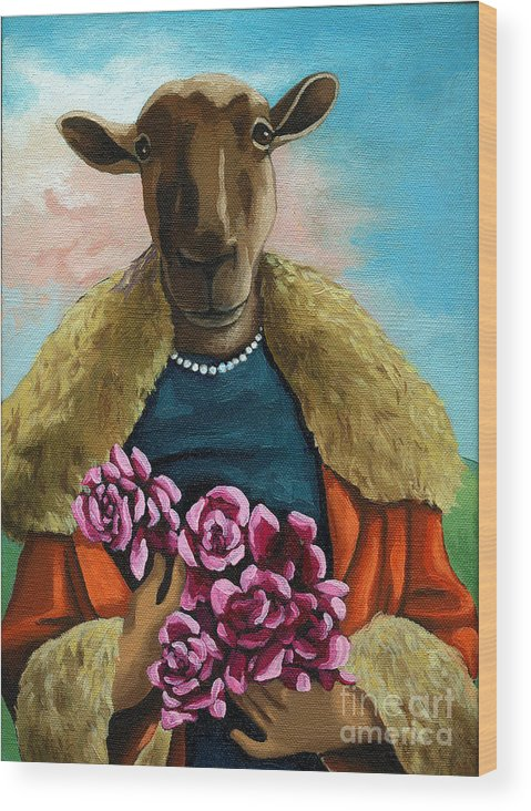 Sheep Wood Print featuring the painting animal portrait - Flora Shepard by Linda Apple