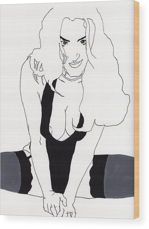 Portrait Wood Print featuring the drawing Anna-black Stockings by Stephen Panoushek