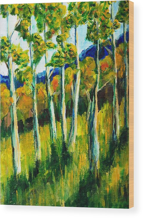 Aspen Wood Print featuring the painting Aspen Highlands by Randy Sprout