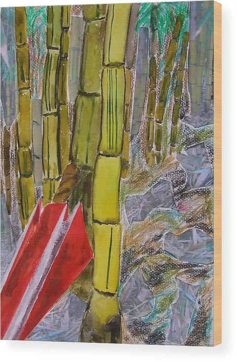 Wood Print featuring the painting Bamboo Forest by Evguenia Men