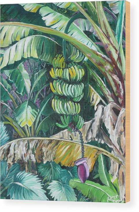 Caribbean Painting Bananas Trees P Painting Fruit Painting Tropical Painting Wood Print featuring the painting Bananas by Karin Dawn Kelshall- Best