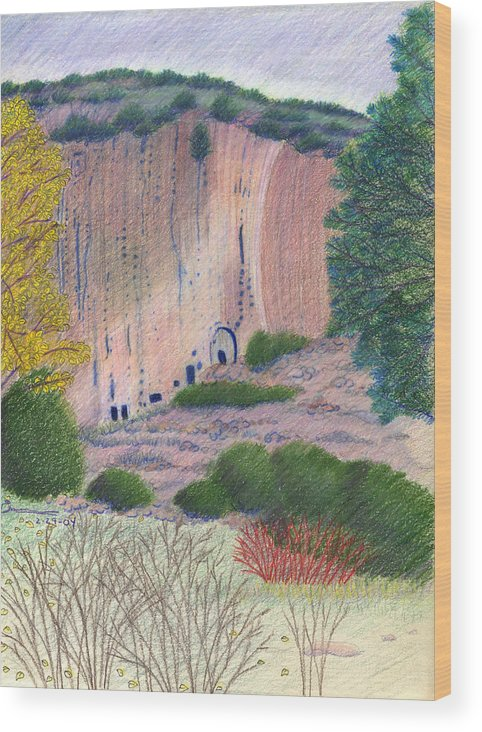 Bandelier National Monument Wood Print featuring the drawing Bandelier 2004 by Harriet Emerson