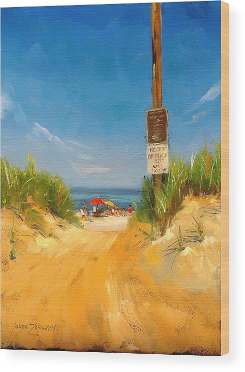 Oil Painting Wood Print featuring the painting Beach Path by Laura Lee Zanghetti