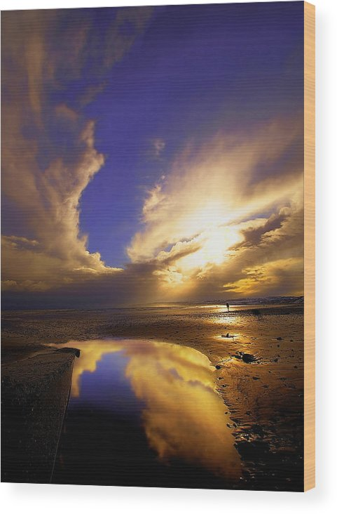 Beach Wood Print featuring the photograph Beach Sunset by Svetlana Sewell