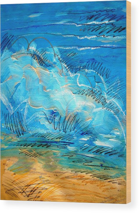 Ocean Wood Print featuring the painting Beach Wave IIi by Dodd Holsapple