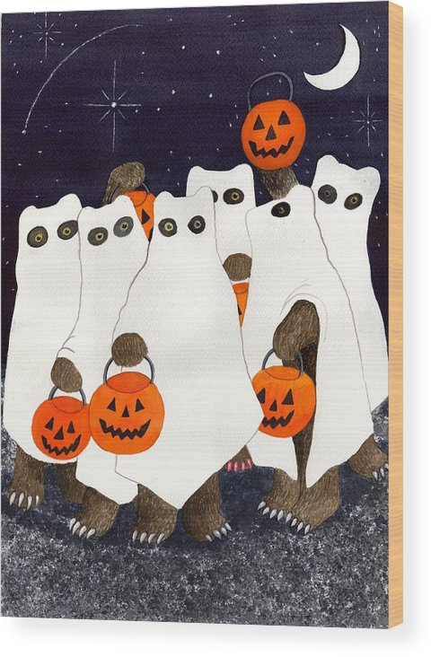 Halloween Wood Print featuring the painting Bear's Freebie Night by Catherine G McElroy