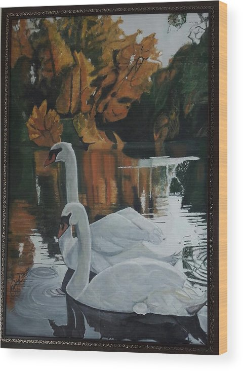 Landscape Wood Print featuring the painting Beautiful Swans Moving In The River Path by Ayesha Jafar