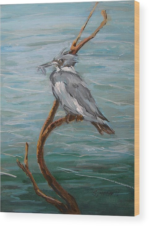 Birds Wood Print featuring the painting Belted Kingfisher by Synnove Pettersen