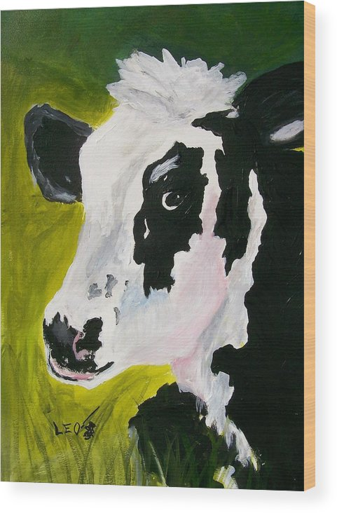 Cows Wood Print featuring the painting Bessy The Cow by Leo Gordon