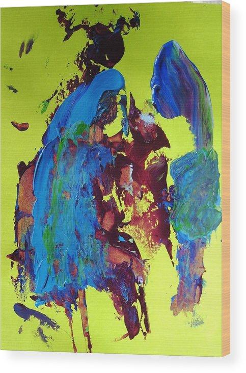 Abstract Wood Print featuring the painting Blue Note by Bruce Combs - REACH BEYOND