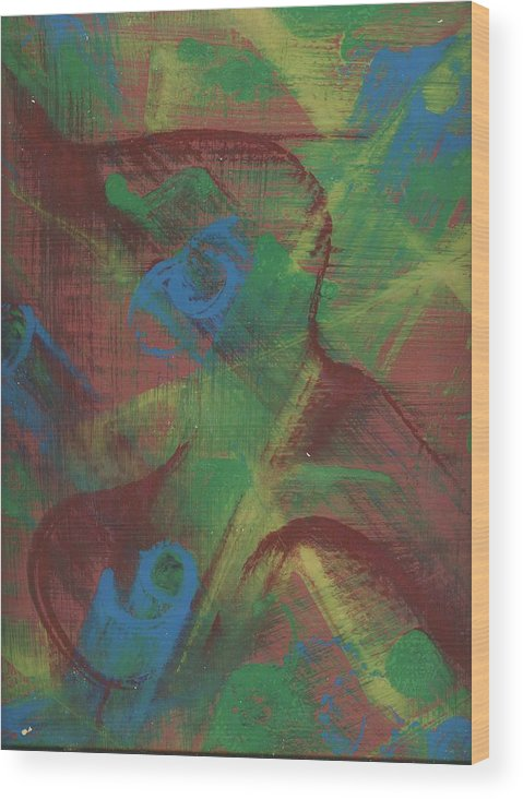 Abstract Wood Print featuring the painting Body Fusion by Cathy Minerva