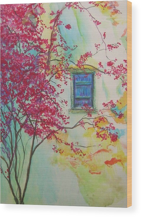 Bouganvilla Wood Print featuring the painting Bouganvilla And Blue Shutter by Lizzy Forrester