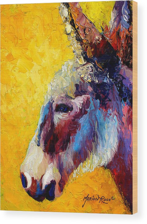 Western Wood Print featuring the painting Burro Study II by Marion Rose
