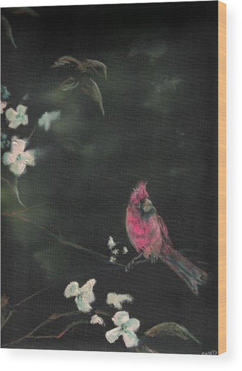 Cardinal Birds Flowers Wildlife Nature Trees Wood Print featuring the painting Cardinal 1 by Raymond Doward