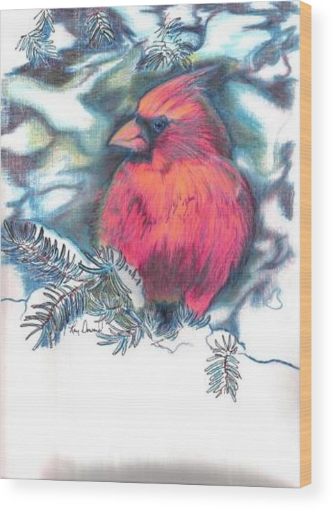 Birds Cardinals Nature Wildlife Pets Wood Print featuring the drawing Cardinal 2 by Raymond Doward