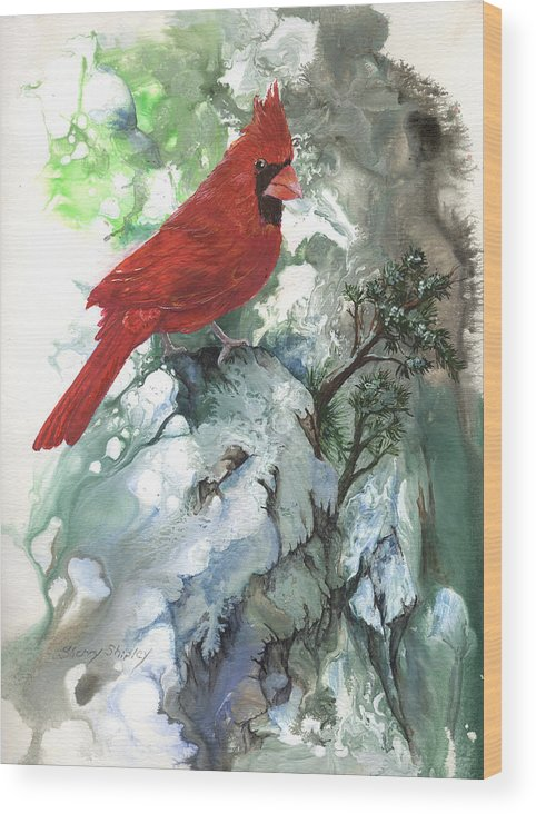 Bird Wood Print featuring the painting Cardinal by Sherry Shipley