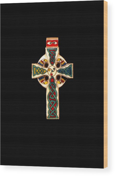 Scrimshaw Wood Print featuring the jewelry Celtic Cross by Thomas Burke