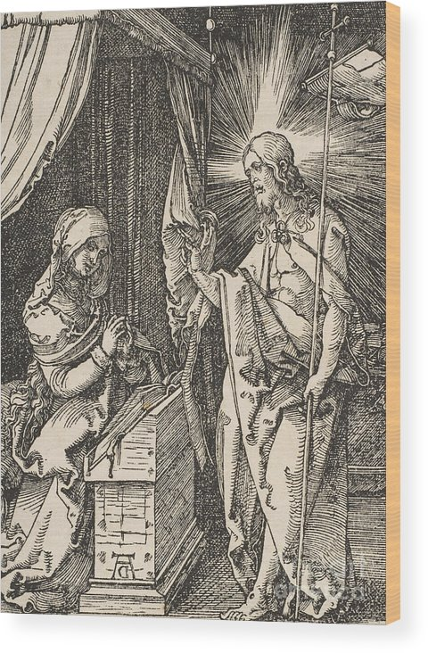 Albrecht Durer Wood Print featuring the drawing Christ Appearing To His Mother, From The Small Passion by Albrecht Durer