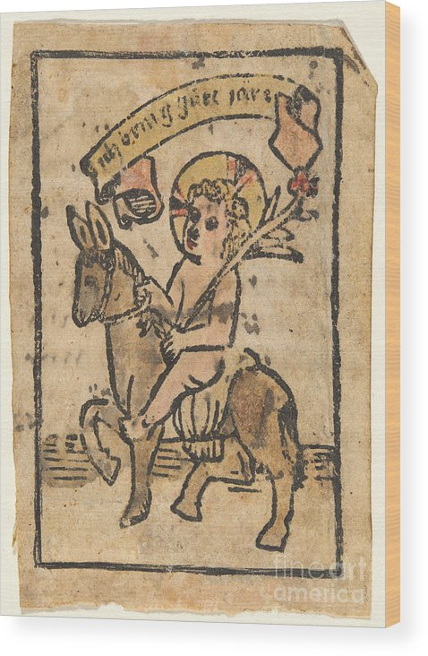 Wood Print featuring the drawing Christ Child On Donkey by German 15th Century