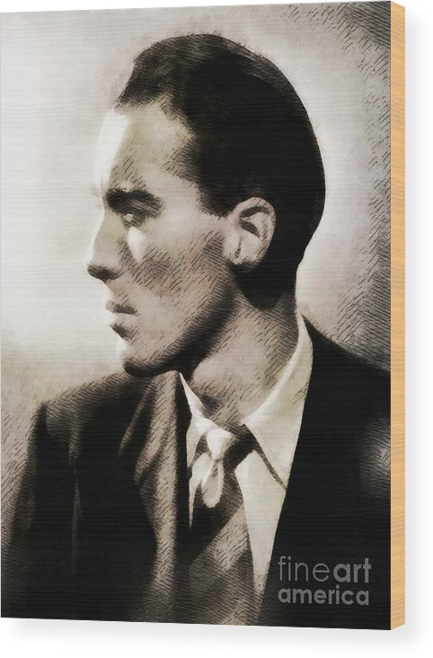 Hollywood Wood Print featuring the painting Christopher Lee, Vintage Actor by John Springfield