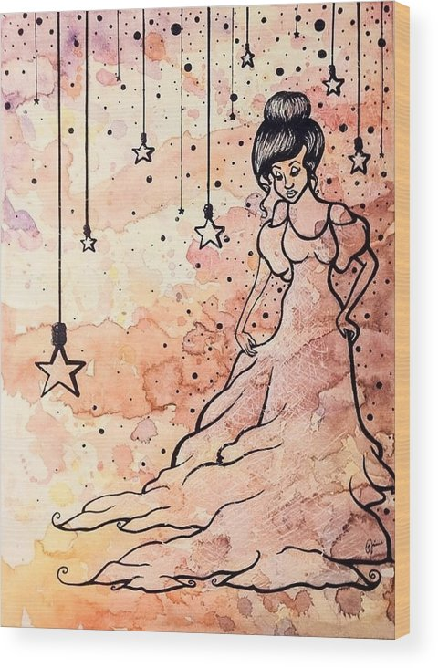 Girl Wood Print featuring the mixed media Cloud Dancer by Jaime Violano