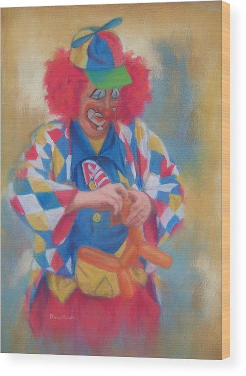 Clown Wood Print featuring the painting Clown Making Balloon Animals by Diane Caudle