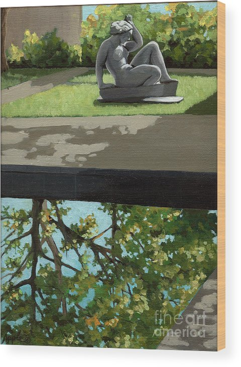Landscape Painting Wood Print featuring the painting Contemplation by Linda Apple