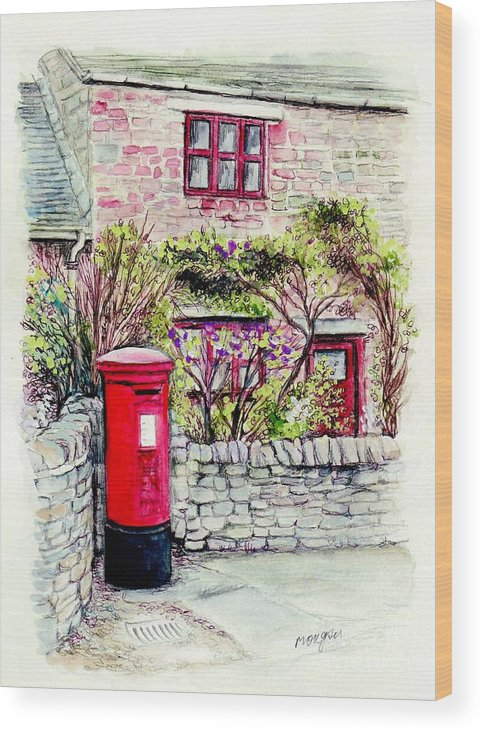 Country Wood Print featuring the painting Country Village Post Box by Morgan Fitzsimons