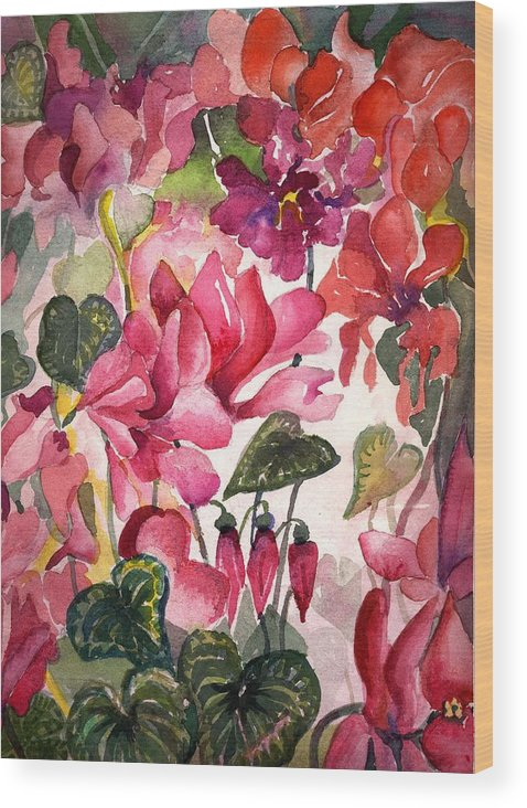 Cyclamen Wood Print featuring the painting Cyclamen by Mindy Newman