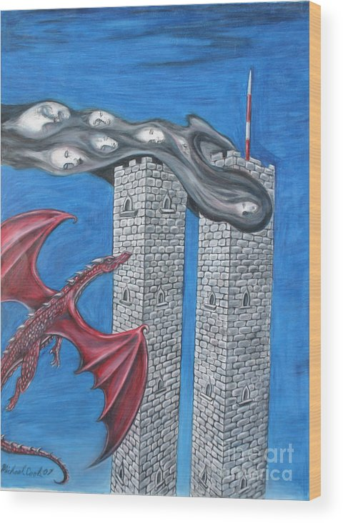 Dragons 911 September Eleventh Twin Towers Wood Print featuring the drawing Dark Age 911 by Michael Cook