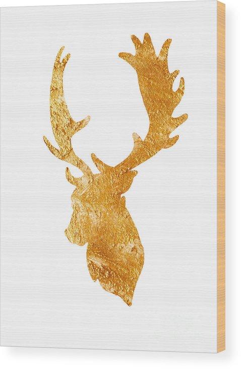 Deer Wood Print featuring the painting Deer Head Silhouette Drawing by Joanna Szmerdt