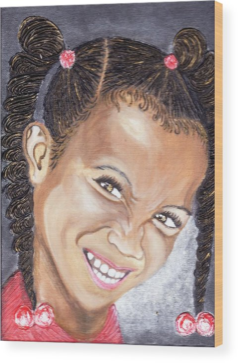 Smile Wood Print featuring the painting Devilish Grin by Keenya Woods