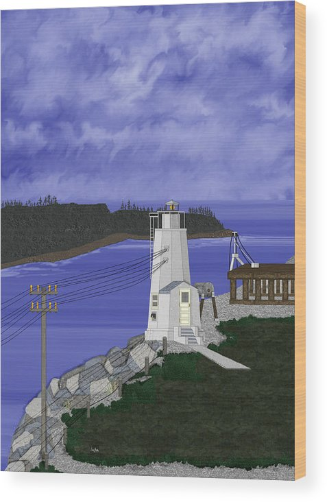 Lighthouse Wood Print featuring the painting Dofflemeyer Point Lighthouse At Boston Harbor by Anne Norskog