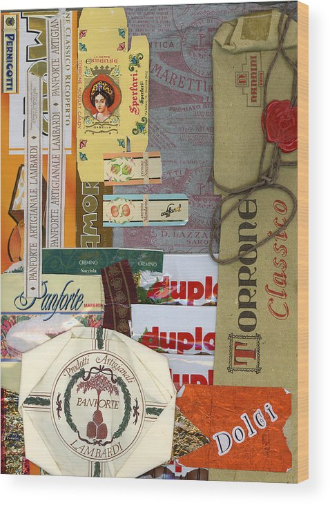 Collage Print Wood Print featuring the mixed media Dolci by Nancy Ferrier