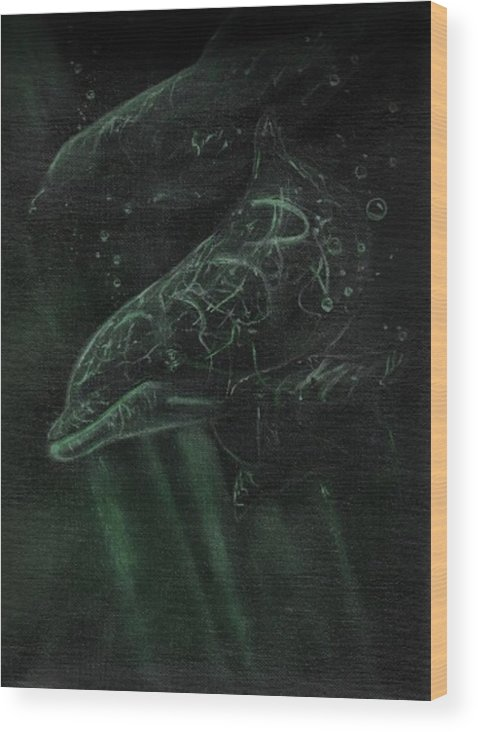 Dolphins Water Underwater Fish Sea Animals Ocean Freshwater Swimming Wood Print featuring the painting Dolphins 2 by Raymond Doward