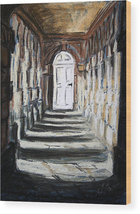 Door. Building. Architecture. Shadows. Wood Print featuring the painting Doorway. by John Cox