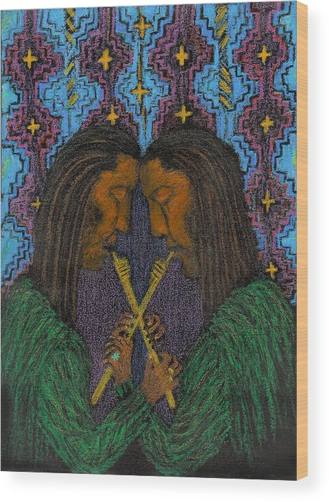 Music From The Soul Wood Print featuring the painting Duo Gebo by Ingrid Szabo