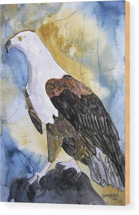Realistic Wood Print featuring the painting Eagle by Derek Mccrea