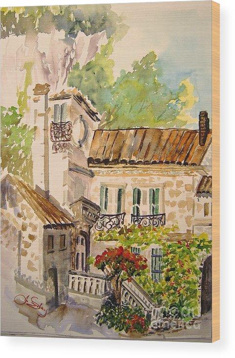 France Wood Print featuring the painting En Plein Air At Moulin De La Roque France by Joanne Smoley