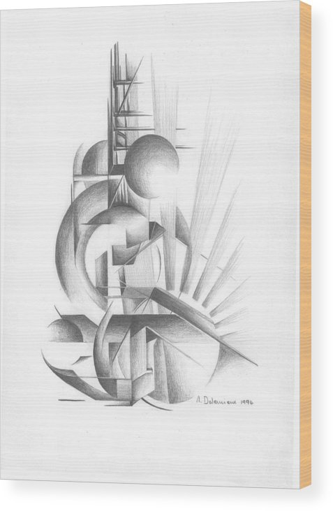 Abstract Wood Print featuring the drawing Equilibre by Muriel Dolemieux