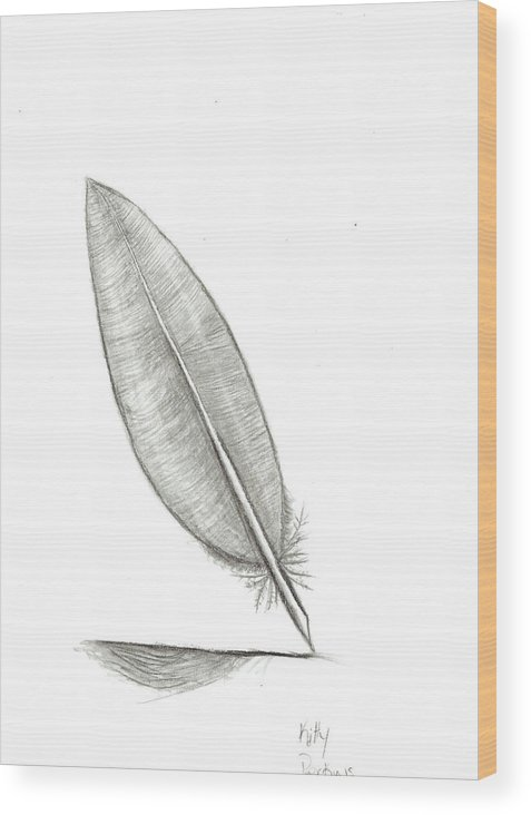 Feather Wood Print featuring the mixed media Feather by Kitty Perkins