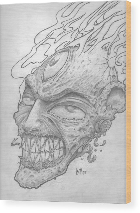 Zombie Wood Print featuring the drawing Flamehead by Will Le Beouf