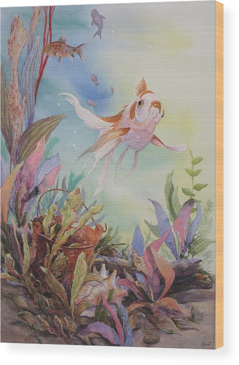 Underwater Scene Wood Print featuring the painting Floaters Number Two In A Series by Don Trout