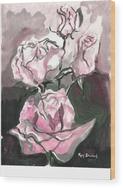 Abstract Flowers Nature Landscape Roses Wood Print featuring the painting Flower Abstract by Raymond Doward