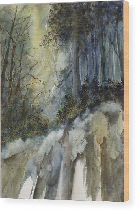 Secenic Forest Wood Print featuring the painting Forest Unknown by Lynne Parker