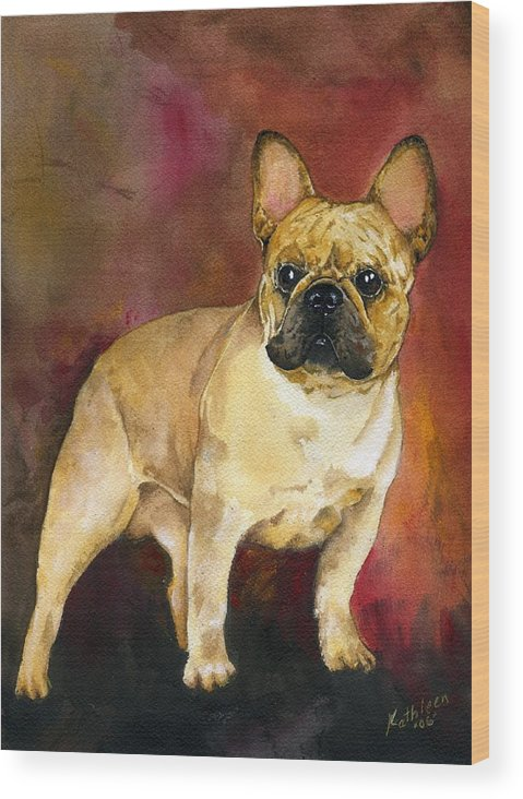 French Bulldog Wood Print featuring the painting French Bulldog by Kathleen Sepulveda
