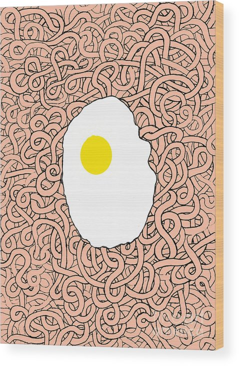Egg Wood Print featuring the digital art Fried Egg And Spaghetti In Tomato Sauce by Andy Mercer