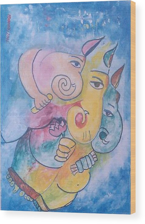 Painting Wood Print featuring the painting Ganesha by Rooma Mehra